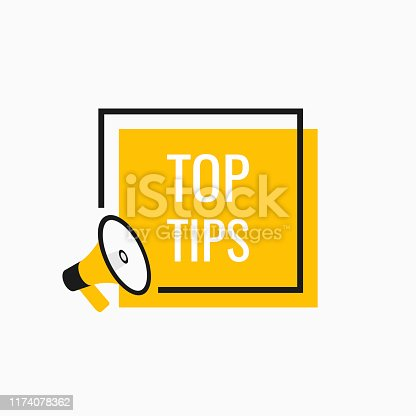 istock Geometric banner. Megaphone with Top Tips speech bubble. Loudspeaker. Modern flat style vector illustration 1174078362