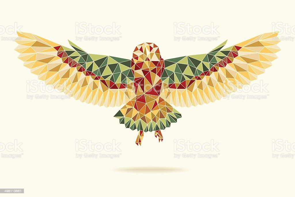 geometric barn owl flying abstract colour向量藝術插圖