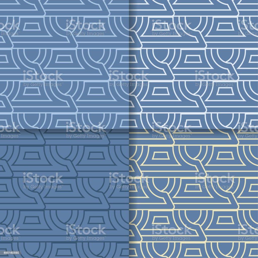 幾何学的な青色の背景色抽象的なシームレスな壁紙色のセット