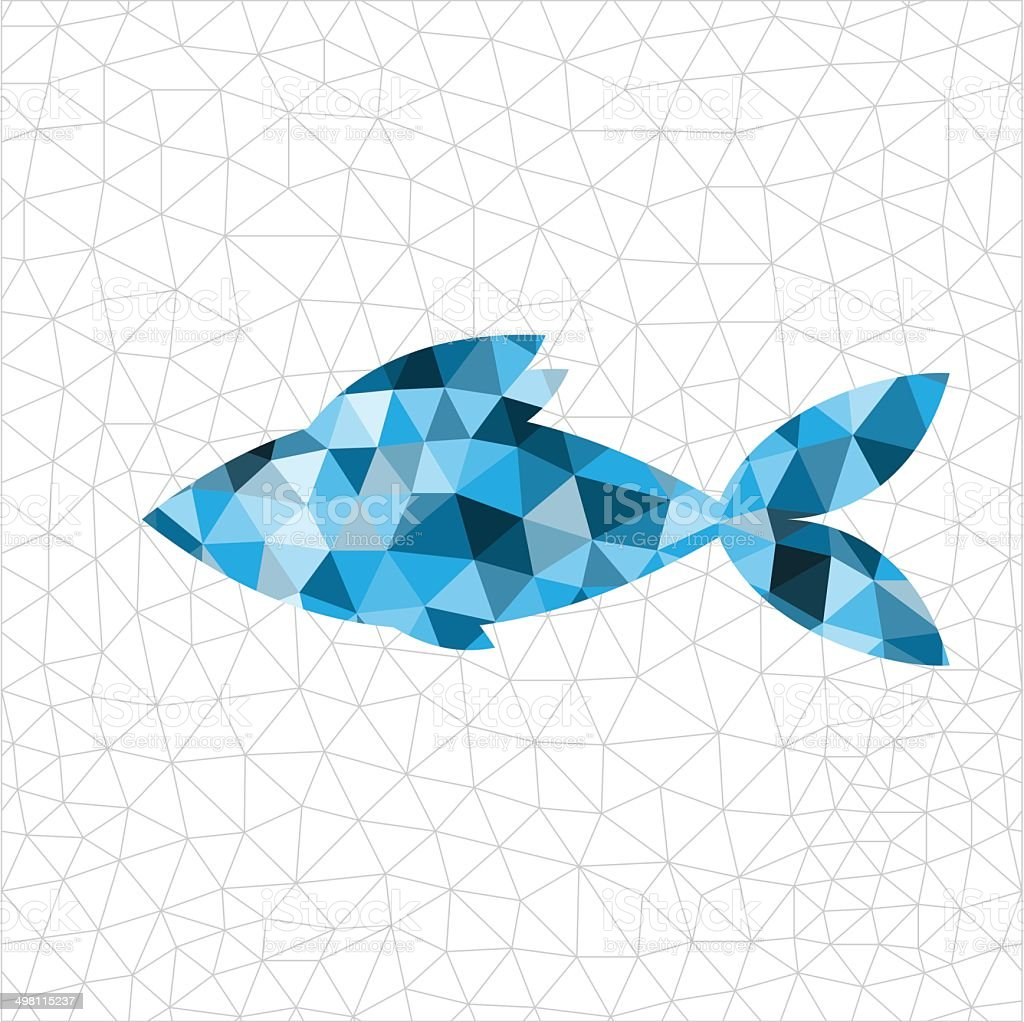 Geometric blue fish vector art illustration