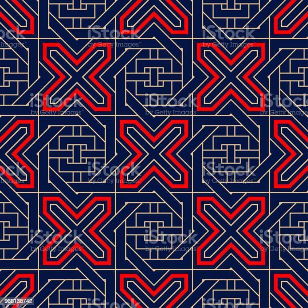 Motivo Geometrico Blu Senza Cuciture Stampa Rossa E Beige - Immagini vettoriali stock e altre immagini di Astratto