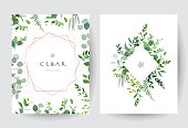 Geometric botanical vector design frames on white background. Silver dollar eucalyptus, greenery, plants. Trendy wedding green rustic cards. Pink gold line art and glitter.Isolated and editable.