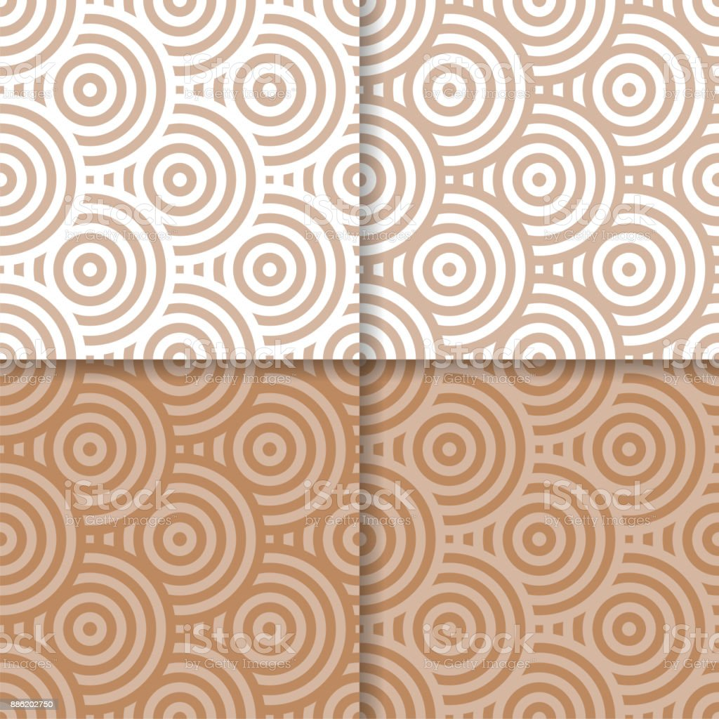 Circle Geometric Shape Satin Textile Brown Beige Background Abstract Seamless Wallpaper
