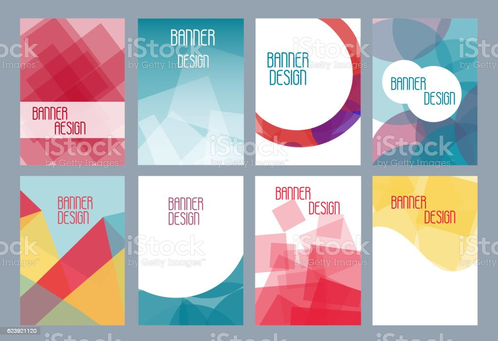 Geometric business templates for brochure, flyer or booklet. Abstract multicolored vector art illustration