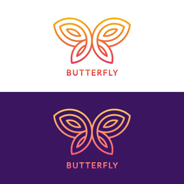 geometric butterfly sign - butterfly stock illustrations