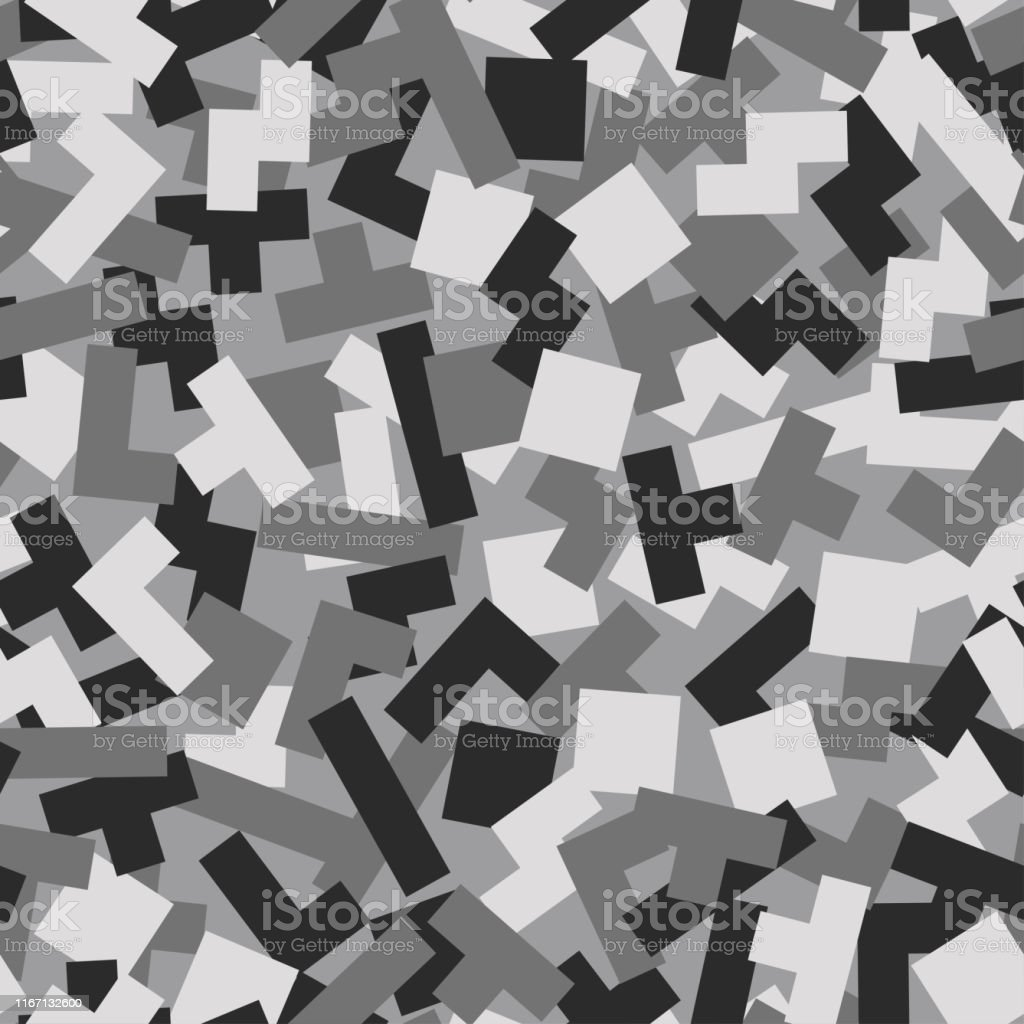 Geometric Camouflage Background Modern Fashion Wallpaper Army Monochrome Texture Vector Trendy Camo Pattern Black And White Stock Illustration