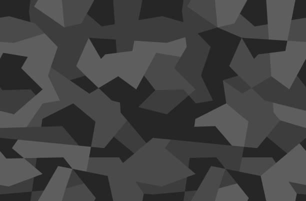 幾何偽裝無縫模式。抽象現代迷彩服, 黑白現代軍事質感背景。向量例證。 - 偽裝 幅插畫檔、美工圖案、卡通及圖標
