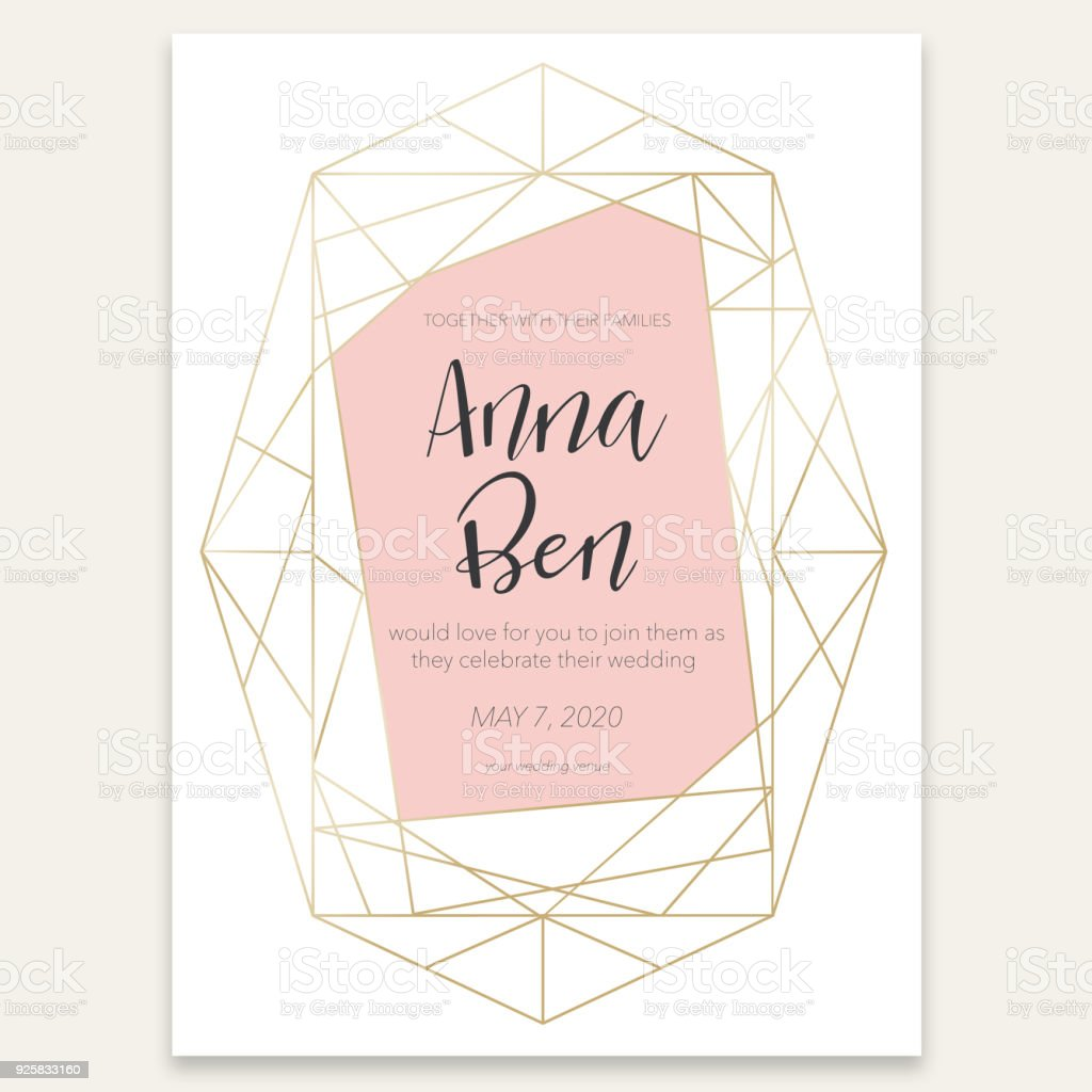 Geometric card with wedding invitation vector art illustration