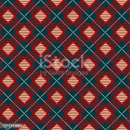 istock Geometric check scottish skirts print 1312144864