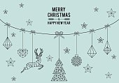 Geometric Christmas card, simple, modern, set of vector design elements