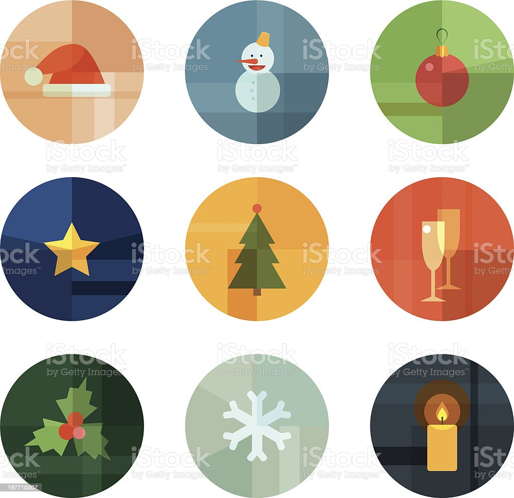 Geometric Christmas Icons In Circle Shapes Stock Vector Art & More ...