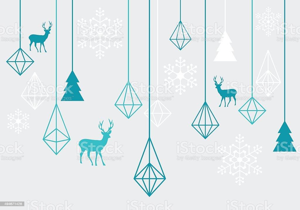 Geometric Christmas ornaments, vector vector art illustration