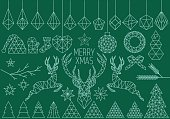 Abstract geometric Christmas set, polygon reindeer, low poly vector design elements