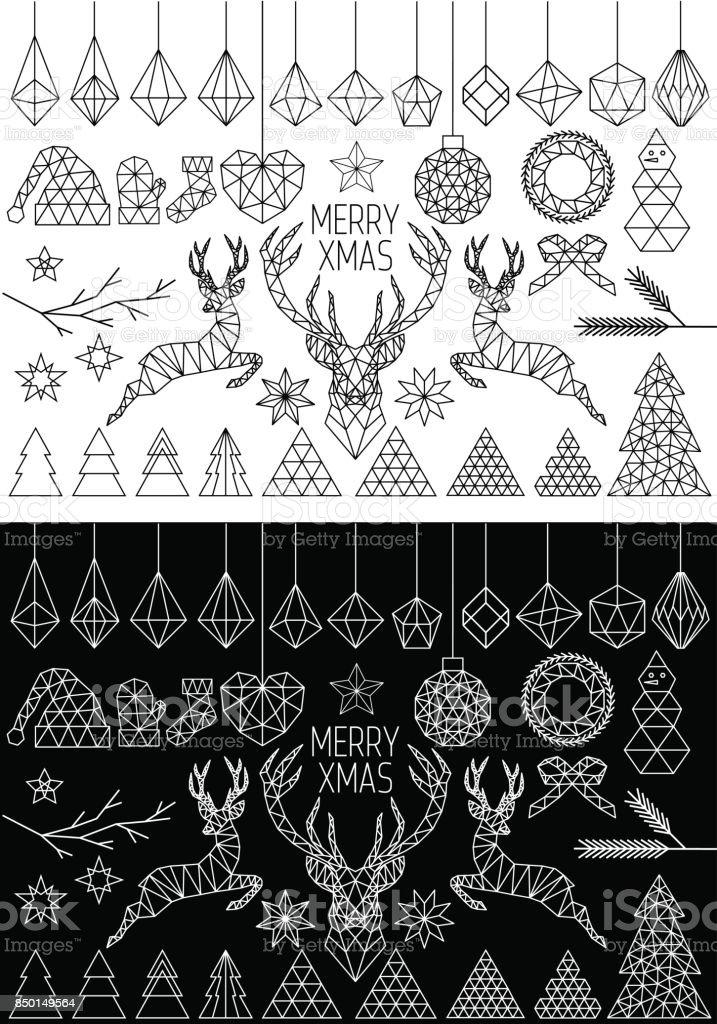 Geometric Christmas, vector set vector art illustration