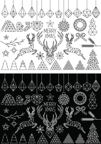 Geometric Christmas, vector set vector art illustration