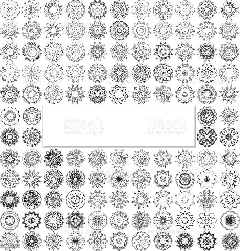 Geometric circular ornament set. vector art illustration