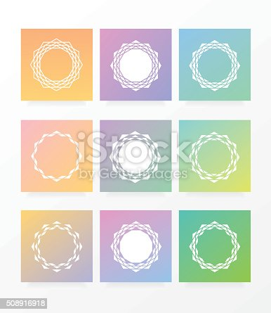 Geometric Circular Star Shaped Polygonal Symbol Frames And ...