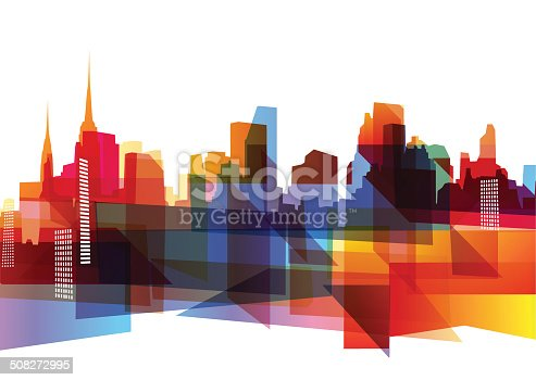 Abstract geometric city skyline with cool vibrant colors.