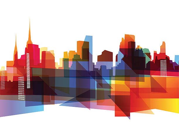 Geometric city skyline Abstract geometric city skyline with cool vibrant colors.  cityscape stock illustrations
