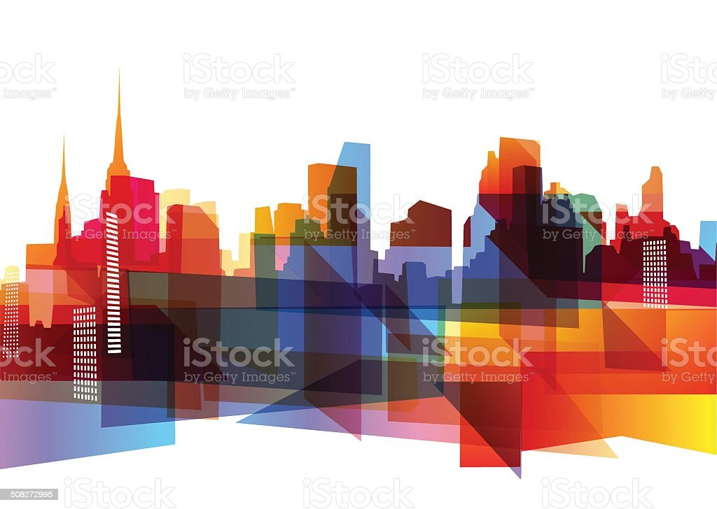 Geometric city skyline vector art illustration