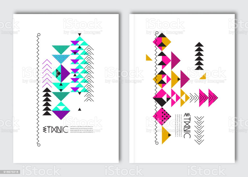 Geometric colorful ethnic flyers. vector art illustration