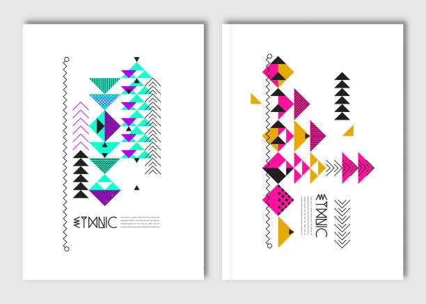 Geometric colorful ethnic flyers. Vector abstract background templates - set of modern elements for brochure, poster, card, cover design. indigenous culture stock illustrations