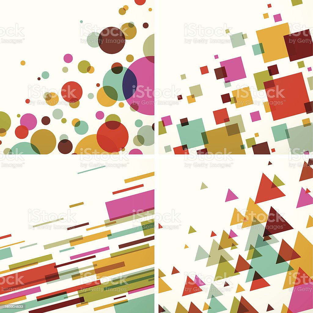 Geometric colors background set - EPS10 vector art illustration