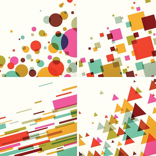 Geometric colors background set - EPS10 vector art illustration