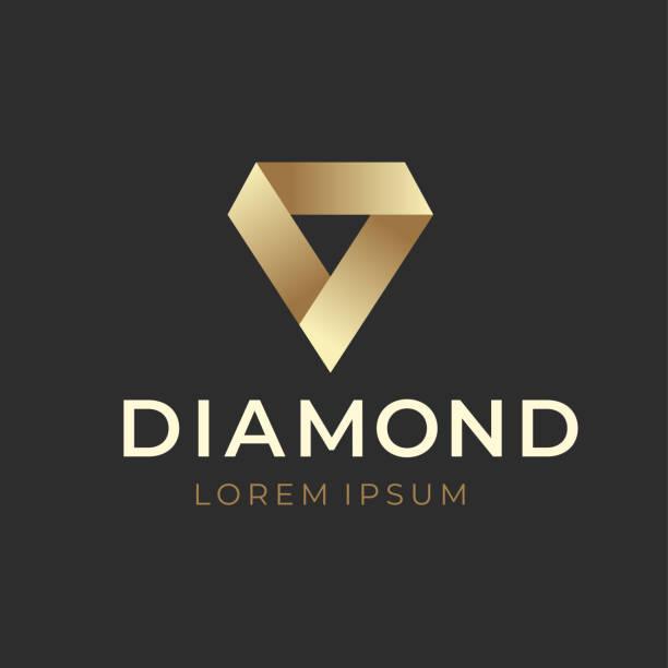 geometrische kreative diamond logokonzept. vektor-illustration - modeschmuck stock-grafiken, -clipart, -cartoons und -symbole