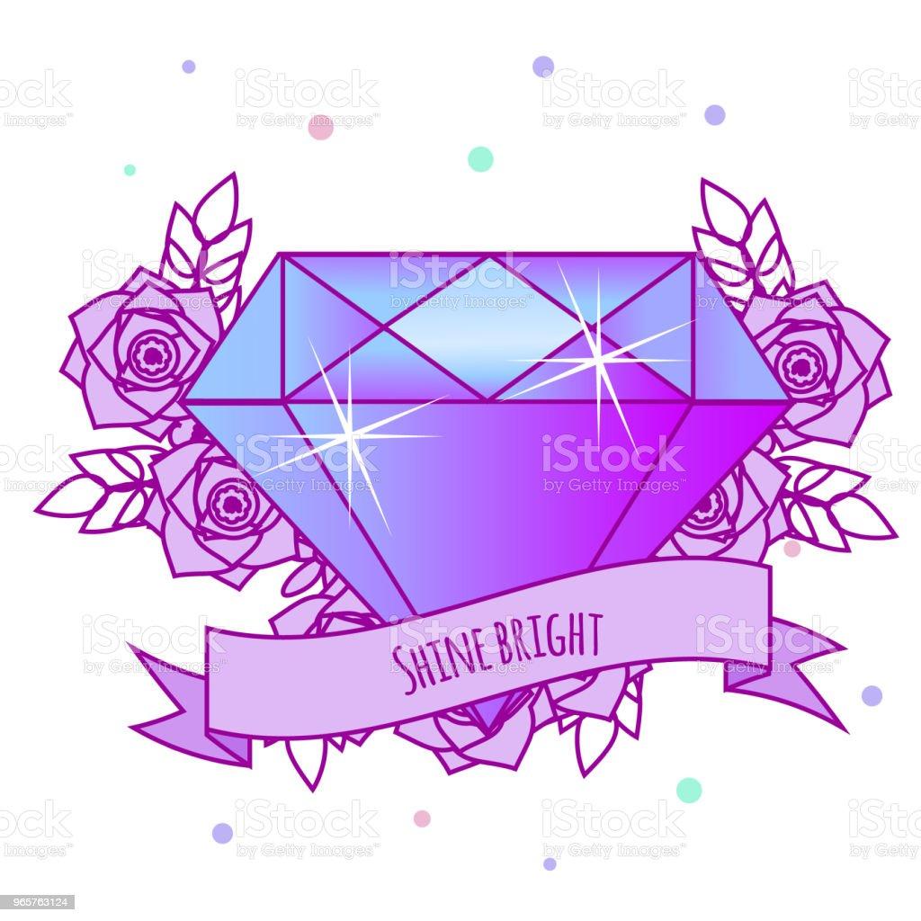 Geometrische crystal diamant met bloemen en motiverende slogan op het lint. Tattoo meisjes. Vectorillustratie in pastel gothic. Afdrukken, sticker voor vrouwen, vrouwen - Royalty-free 1990-1999 vectorkunst