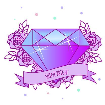 Geometrische Crystal Diamant Met Bloemen En Motiverende Slogan Op Het Lint Tattoo Meisjes Vectorillustratie In Pastel Gothic Afdrukken Sticker Voor Vrouwen Vrouwen Stockvectorkunst en meer beelden van 1990-1999