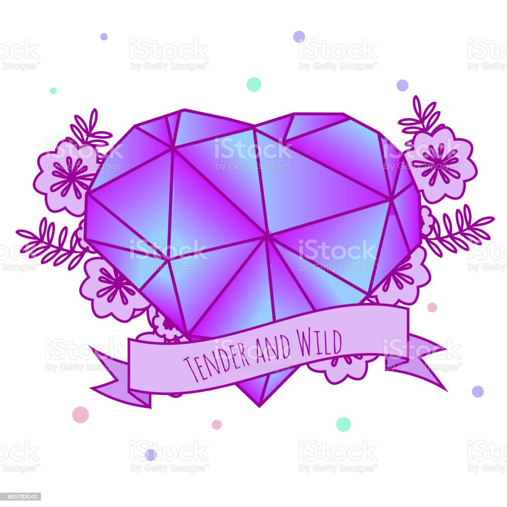 Geometric crystal heart with flowers and inspirational slogan on ribbon. Girls tattoo. Vector illustration in pastel gothic. Print, sticker for females, women - Royalty-free 1990-1999 stock vector