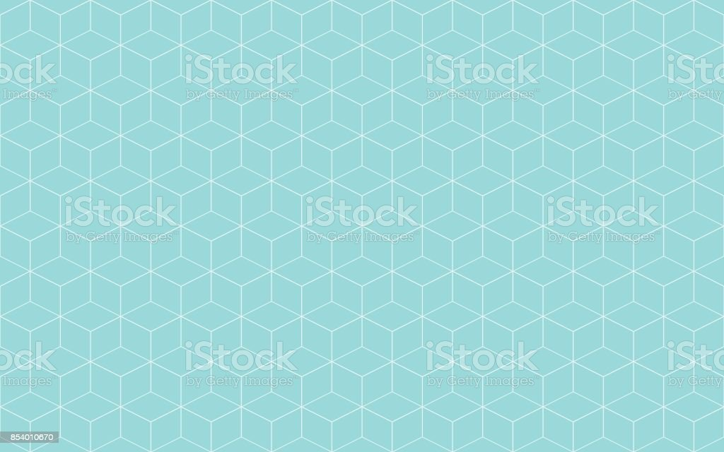 Geometric cube abstract background green aqua and white line vector. Line seamless pattern cube shape. vector art illustration