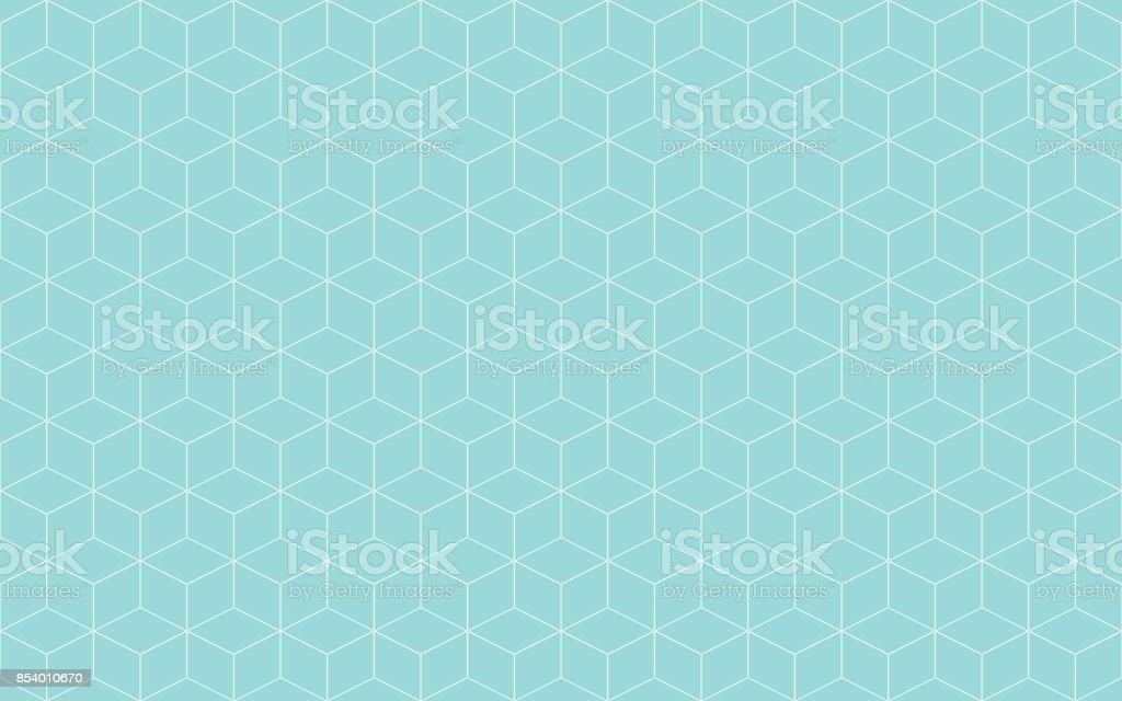 Cubo geométrico abstrato verde aqua e branco linha vetor. Forma de cubo linha padrão sem emenda. - ilustração de arte em vetor