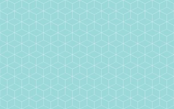 ilustrações, clipart, desenhos animados e ícones de cubo geométrico abstrato verde aqua e branco linha vetor. forma de cubo linha padrão sem emenda. - texturas de polígonos