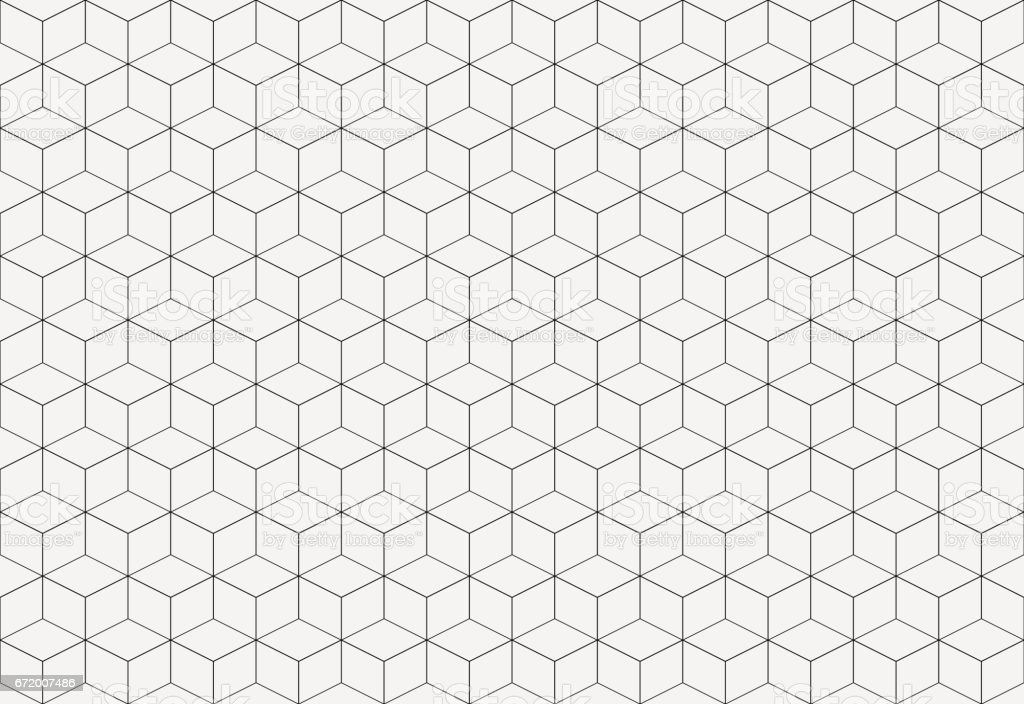 Geometric cube abstract background vector. Line seamless pattern cube shape.