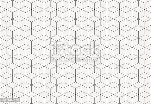 istock Geometric cube abstract background vector. Line seamless pattern cube shape. 672007486