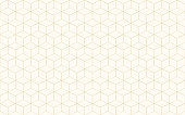 Geometric cube abstract background vector. Line seamless pattern cube shape gold color. Christmas background.
