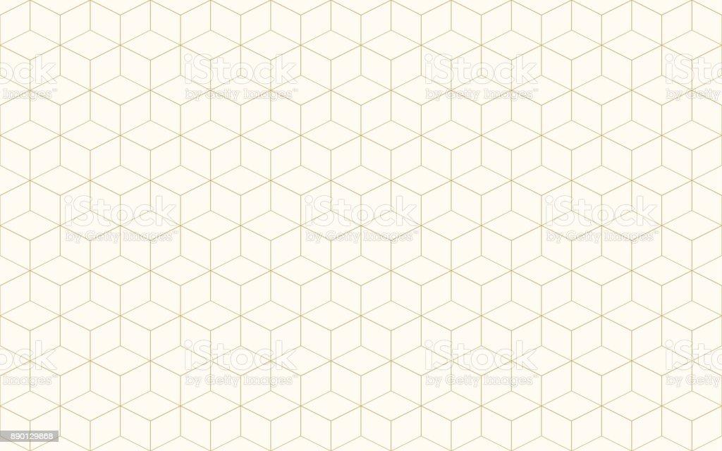 Vetor de cubo geométrico abstrato. Linha padrão sem emenda cor de ouro forma de cubo. Fundo de Natal. - ilustração de arte em vetor