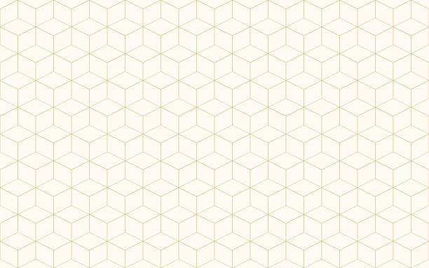 Geometric cube abstract background vector. Line seamless pattern cube shape gold color. Christmas background. Geometric cube abstract background vector. Line seamless pattern cube shape gold color. Christmas background. cube shape stock illustrations