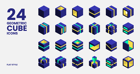 Geometric Cube Icons Collection In Flat Style