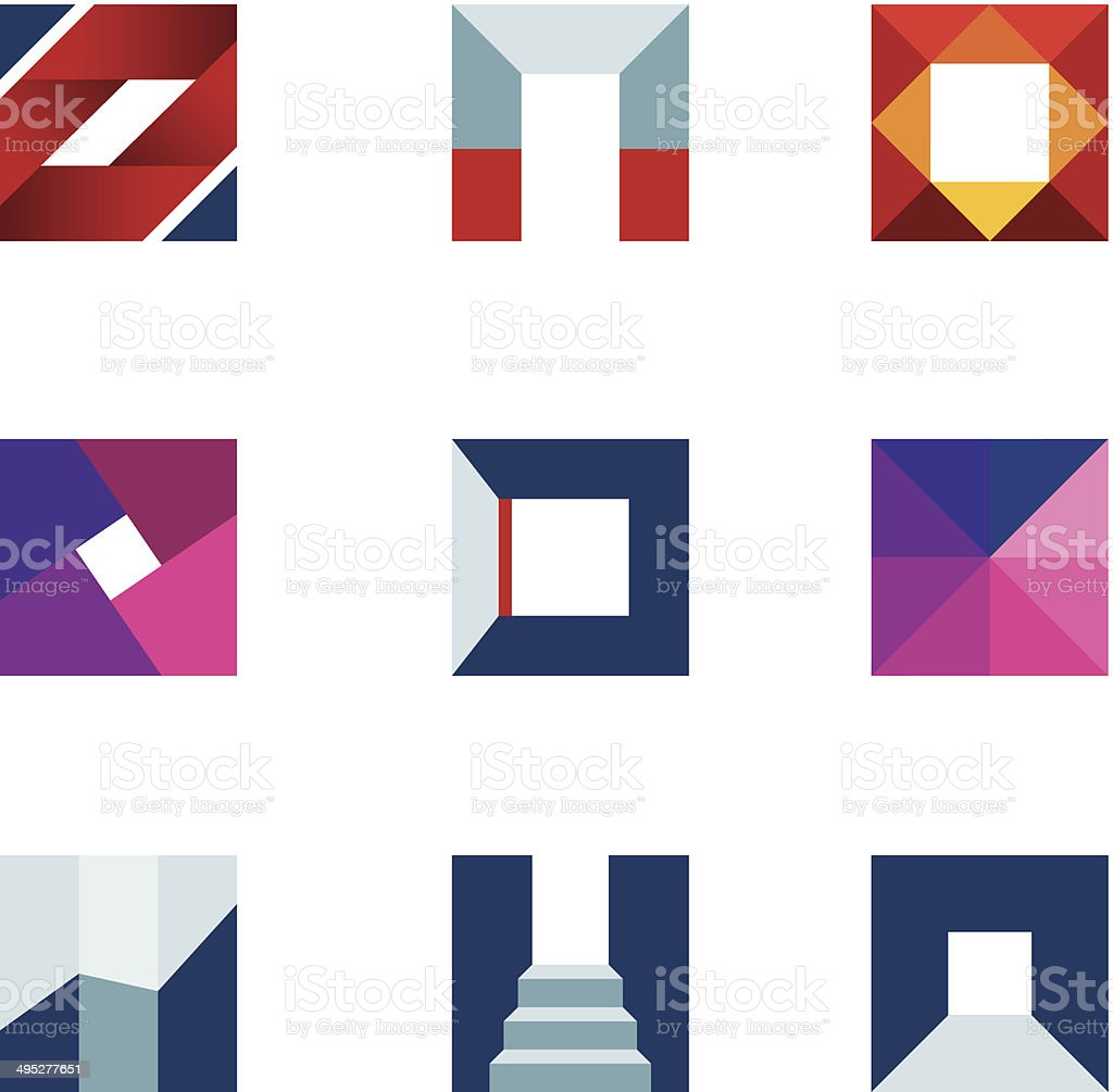 Geometric cube polygons creating walking to success professional logo icon vector art illustration