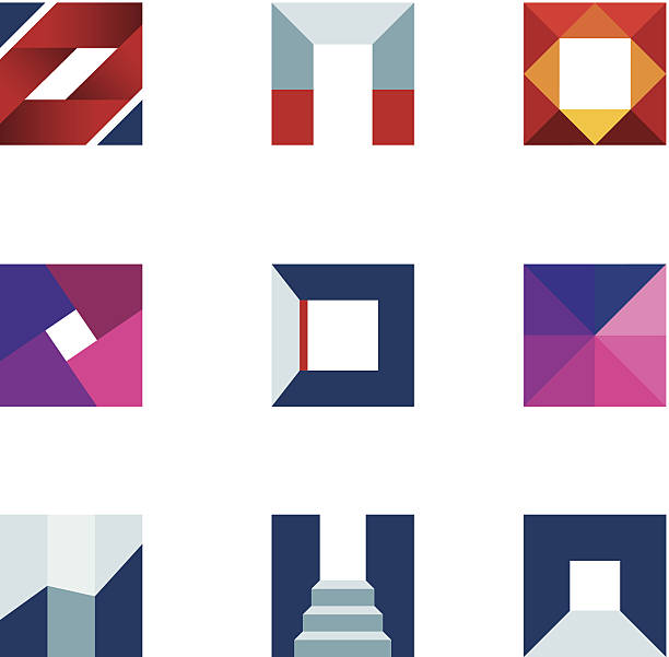 Geometric cube polygons creating walking to success professional logo icon http://www.markoradunovic.com/istock/logos_new.jpg vehicle door stock illustrations