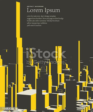 geometric cube style city building pattern poster background