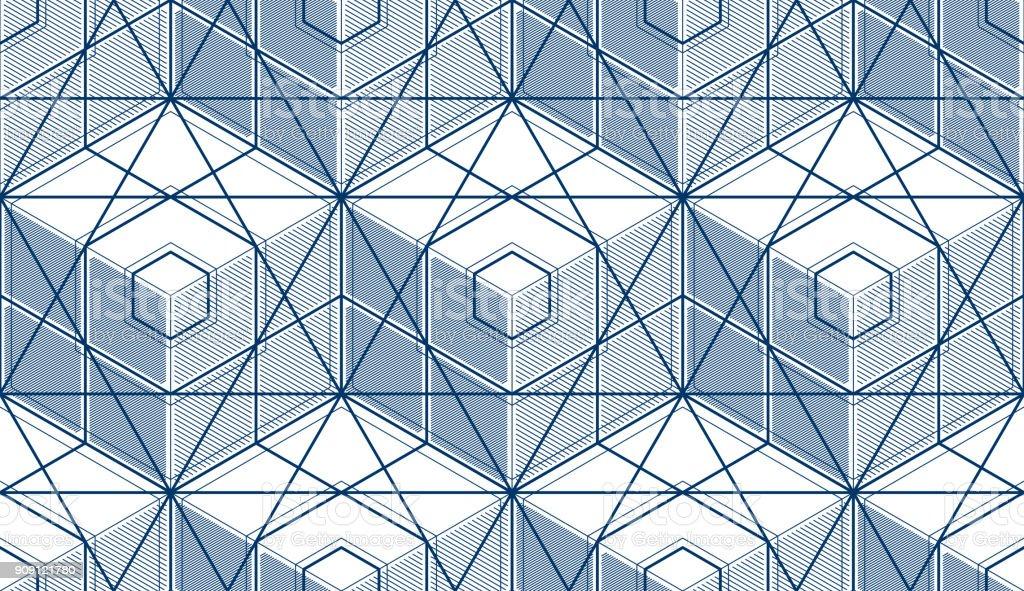 5fa22aaee74 Cubos geométricos abstractos de patrones sin fisuras, 3d fondo de vector.  Estilo de tecnología