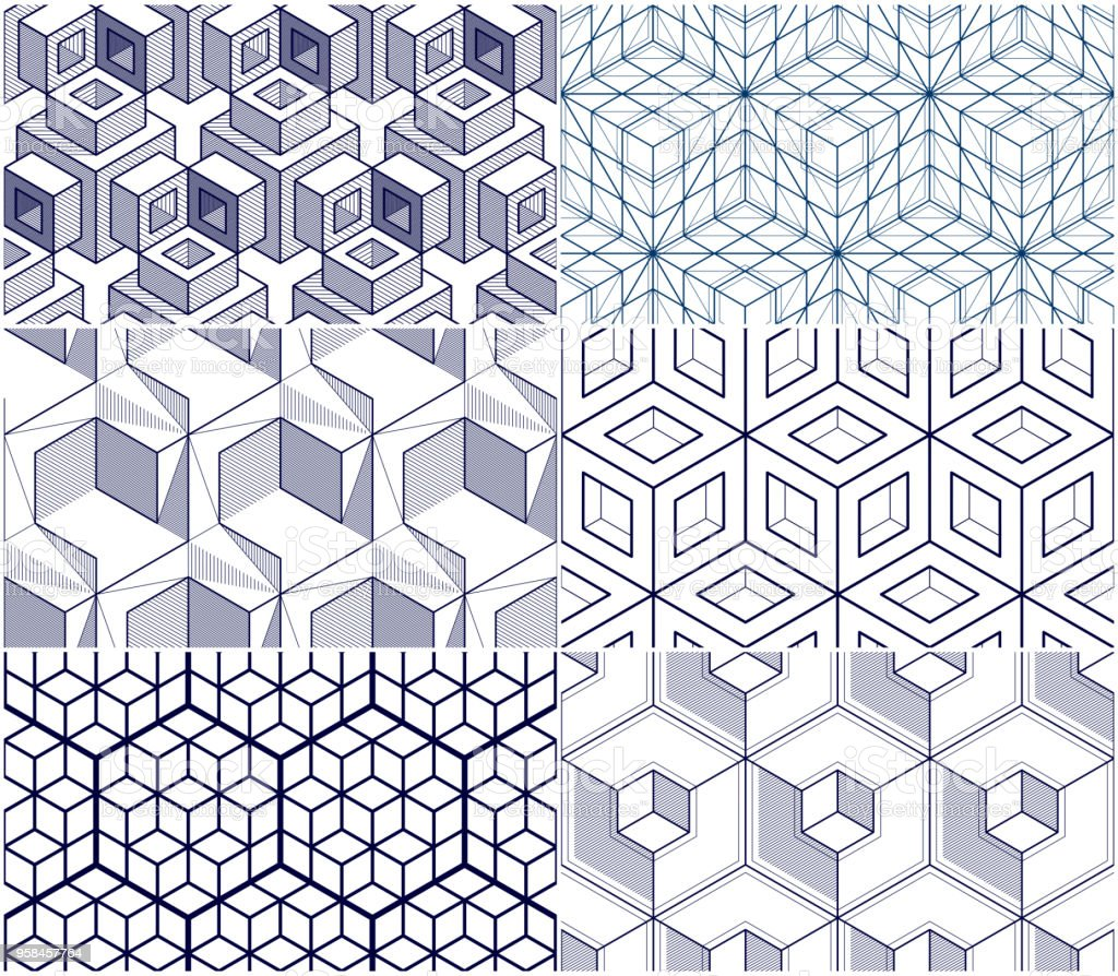 Geometric cubes abstract seamless patterns set, 3d vector backgrounds collection. Technology style engineering line drawing endless illustrations. Usable for fabric, wallpaper, wrapping. vector art illustration
