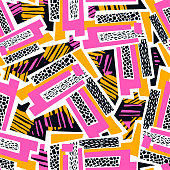 Geometric curved lines graffiti seamless hand craft expressive ink hipster pattern.Grunge urban dynamic expressive bright painting.Print for textile,apparel, wrapping paper.