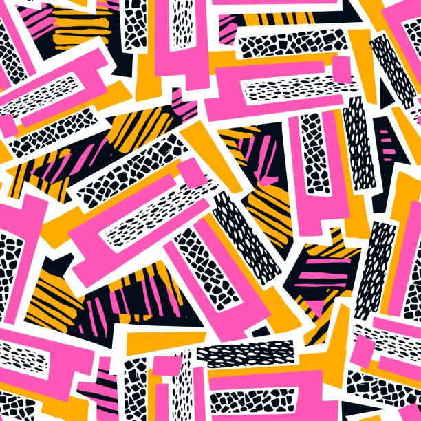 stockillustraties, clipart, cartoons en iconen met geometrische gebogen lijnen graffiti naadloze hand craft expressieve inkt hipster patroon. - stadsleven
