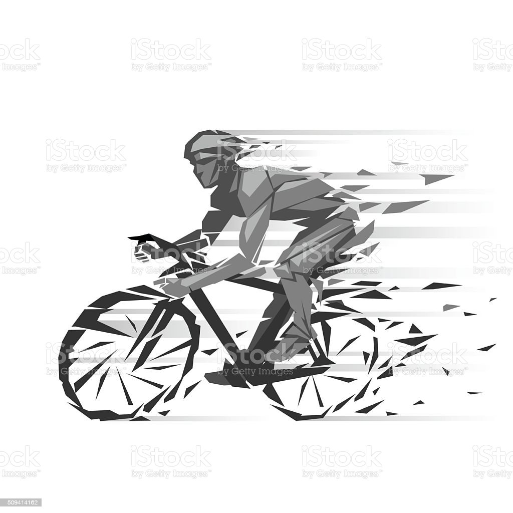 Geometric cyclist illustration vector art illustration