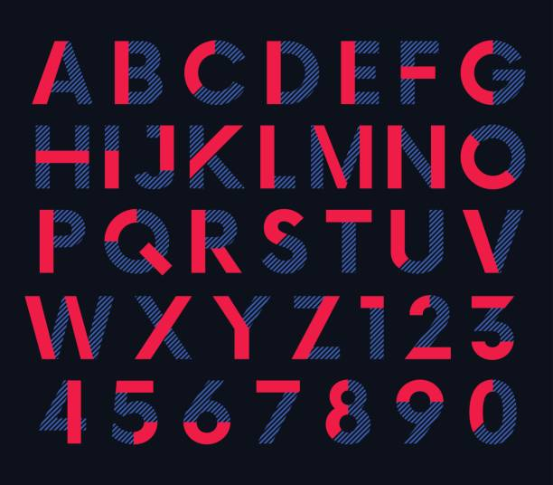 Geometric decorative colored font, vector alphabet Geometric decorative colored font, vector letters and numbers alphabet alphabet patterns stock illustrations